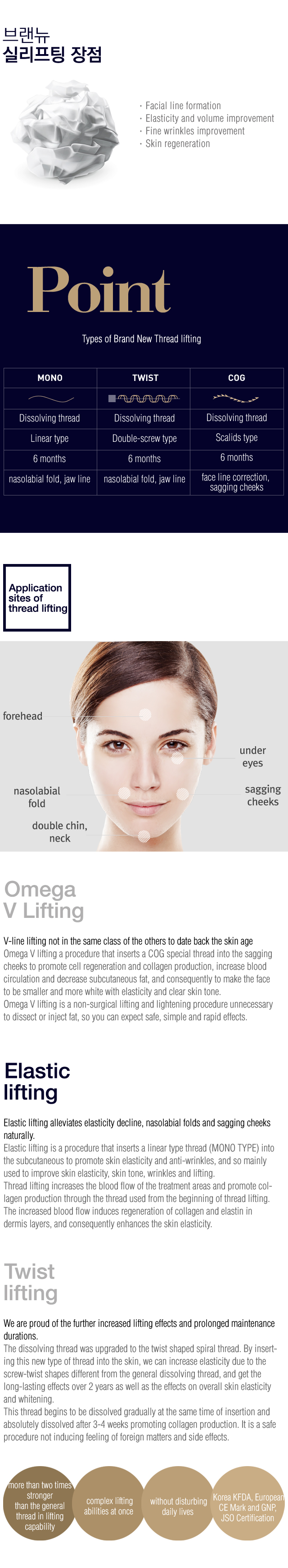 Baby face cosmetic treatment > Thread lifting